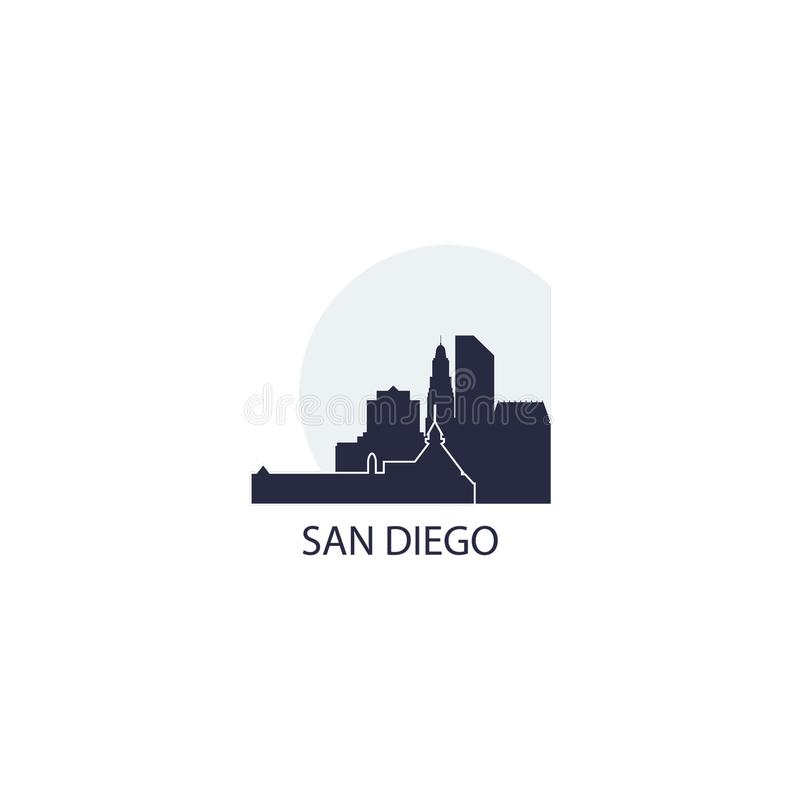 San Diego city skyline silhouette vector logo illustration stock illustration