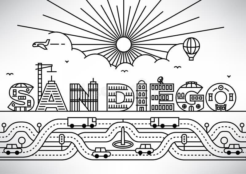 San Diego City Typography Design met de Bouw van Brieven vector illustratie