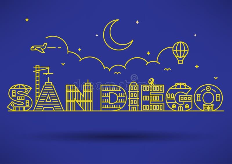 San Diego City Typography Design met de Bouw van Brieven stock illustratie