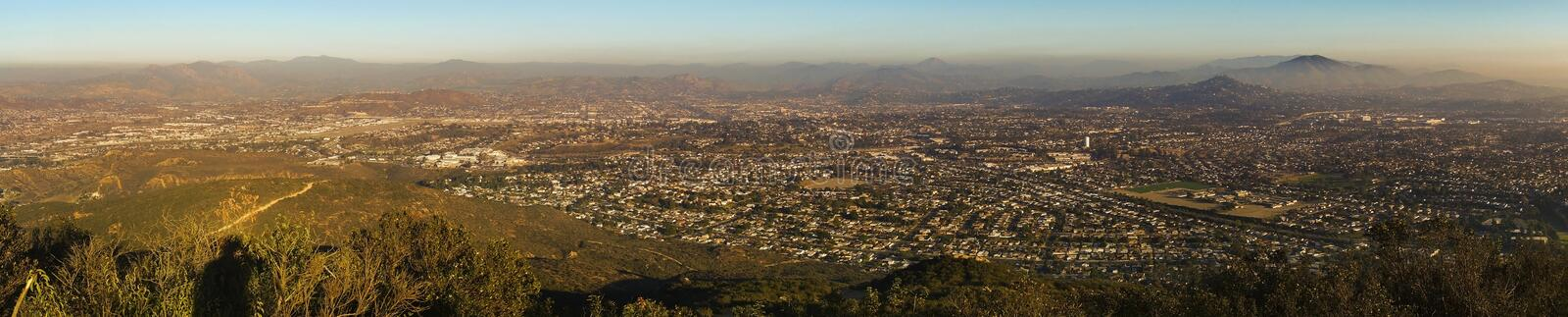 San Diego County Panoramic Landscape from Mount Cowles Mission Trails. Wide Panoramic Landscape of Smog Covered San Diego County and Distant Mexico Baja royalty free stock photo