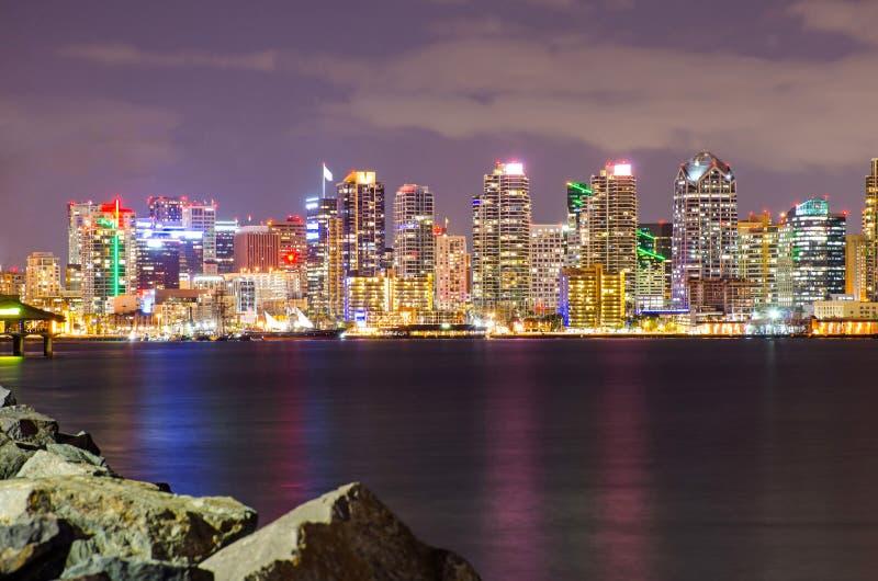 San Diego Downtown bij Nacht royalty-vrije stock fotografie