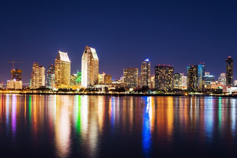 San Diego Downtown la nuit images libres de droits