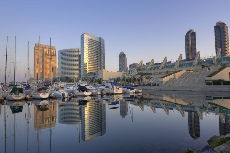 San Diego downtown skyline. San Diego downtown marina and convention center stock photography