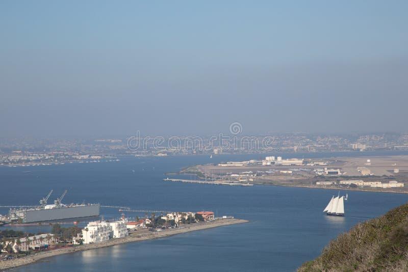 San Diego e a base aérea naval do Point Loma em Califórnia fotografia de stock royalty free