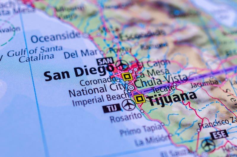 San Diego et Tijuana sur la carte photographie stock libre de droits