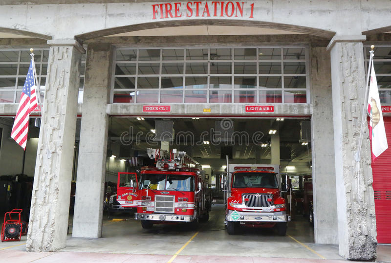 San Diego Fire-Rescue Department Fire Station 1 a San Diego, California immagine stock libera da diritti