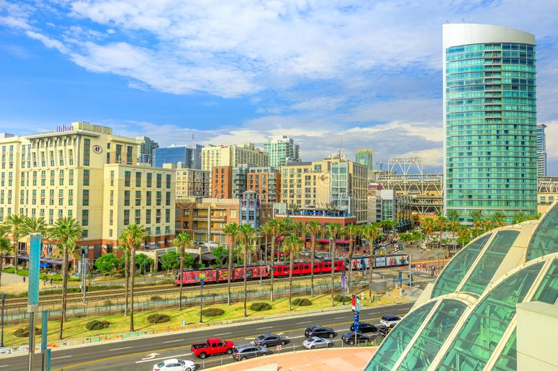 San Diego Gaslamp skyline. San Diego, California, United States - July 31, 2018: aerial view of cityscape Downtown and San Diego Trolley from Convention Center stock images
