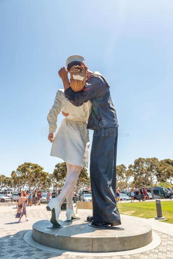 SAN DIEGO - JULY 30, 2017: Unconditional Surrender sculpture at. Sea port. By Seward Johnson, the statue resembles the photograph of V-J day in Times Square royalty free stock photography