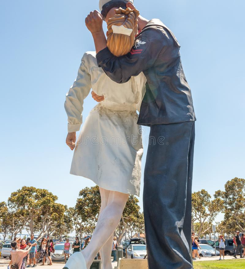 SAN DIEGO - JULY 30, 2017: Unconditional Surrender sculpture at. Sea port. By Seward Johnson, the statue resembles the photograph of V-J day in Times Square royalty free stock images