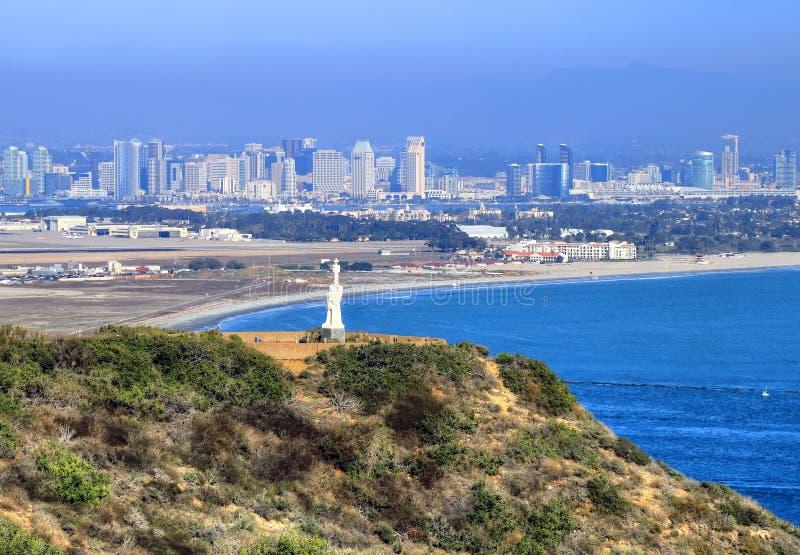 San Diego Kalifornien från Cabrillo den nationella monumentet arkivbilder