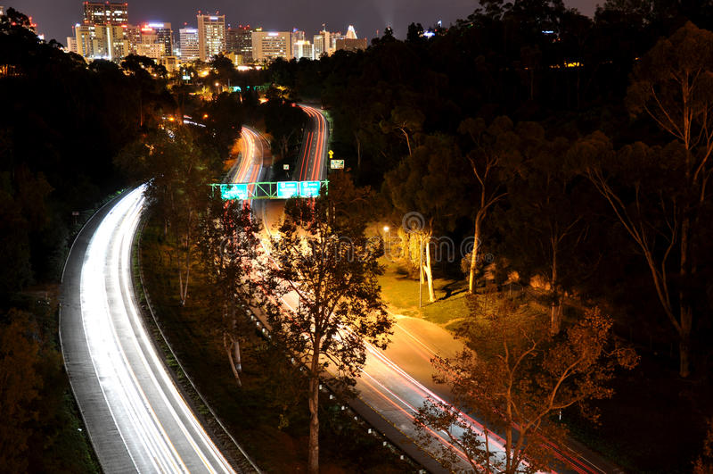 San Diego Light Trails foto de stock royalty free