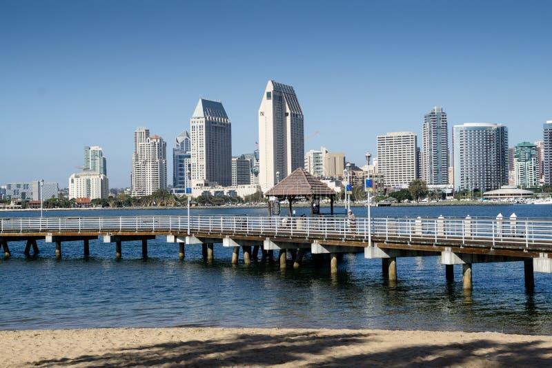 San Diego linia horyzontu i desantowa scena widzieć od Coronado obrazy stock
