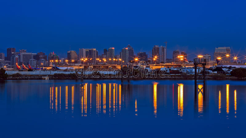 San Diego linia horyzontu i lotnisko obraz royalty free