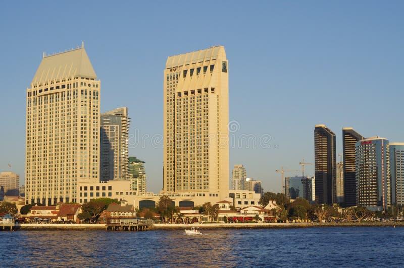 San Diego Machester Uroczysty Hyatt przy zmierzchem obraz stock