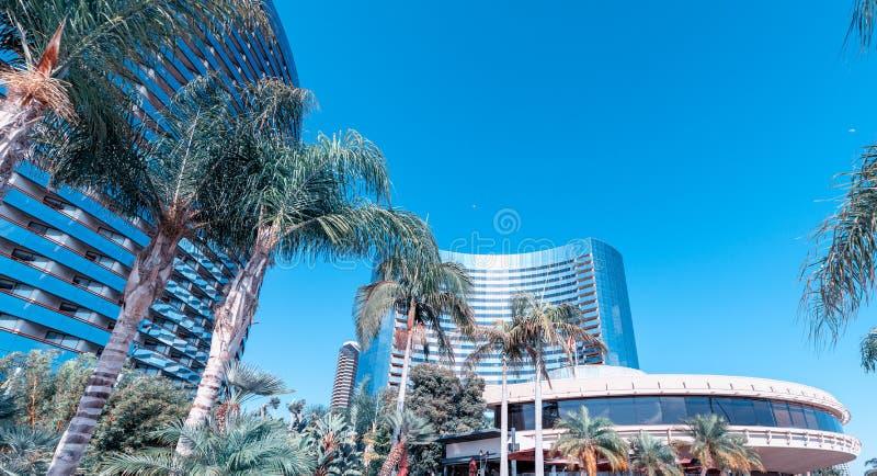 San Diego Marina byggnader och horisont på en härlig sommardag arkivbild