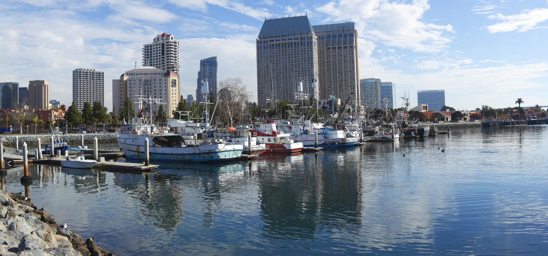 Download San Diego Marina panorama. stock image. Image of water - 12355569