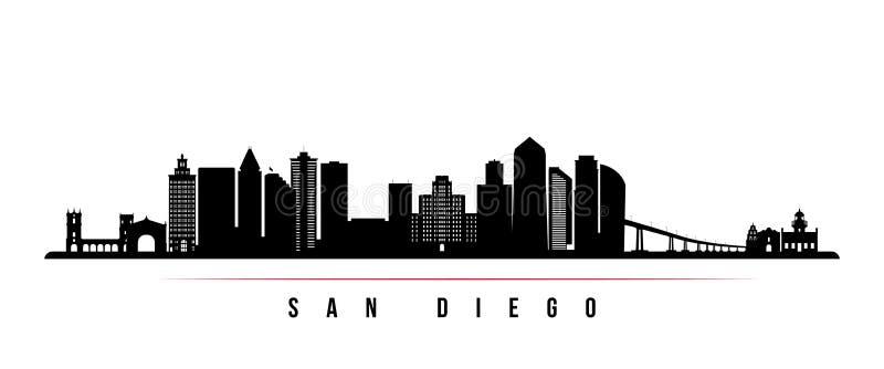 San Diego miasta linia horyzontu horyzontalny sztandar ilustracji
