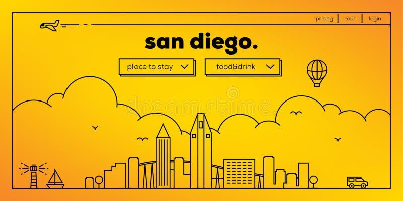 San Diego Modern Web Banner Design met Vector Lineaire Horizon royalty-vrije illustratie