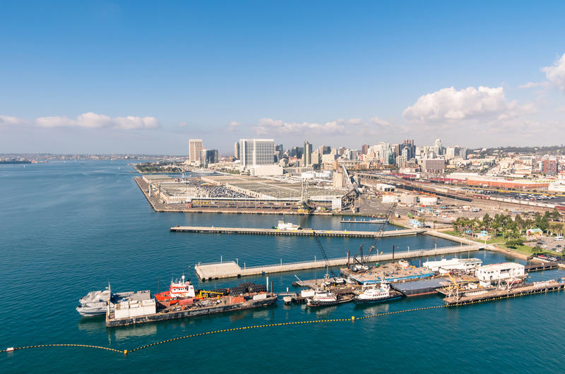 San Diego nabrzeże i linia horyzontu obraz royalty free