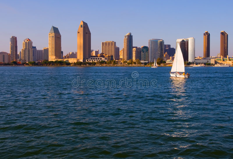 San Diego no por do sol foto de stock royalty free