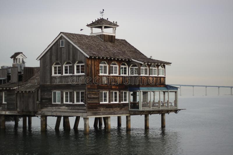 San Diego Pier Cafe. Located on Seaport Village with a view of the Coronado Bridge stock photos