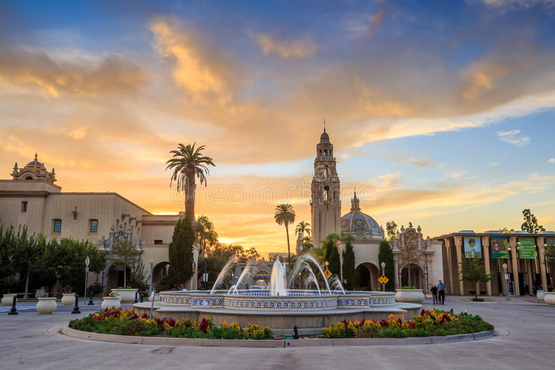 San Diego's Balboa Park in San Diego California. San Diego's Balboa Park at twilight in San Diego California USA royalty free stock image