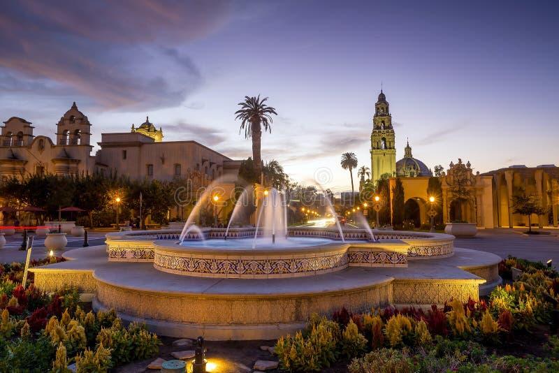 San Diego's Balboa Park in San Diego California. San Diego's Balboa Park at twilight in San Diego California USA stock images