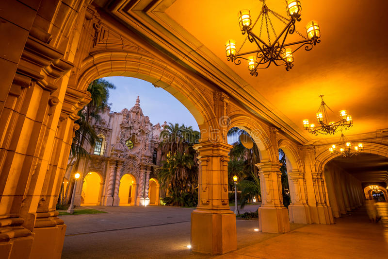 San Diego's Balboa Park in San Diego California. San Diego's Balboa Park at twilight in San Diego California USA stock photos