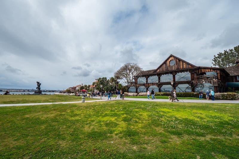 San Diego Seaport Village p? oceanfronten - KALIFORNIEN, USA - MARS 18, 2019 arkivfoton