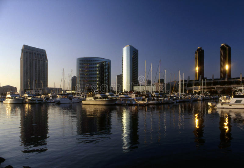 San Diego Skyline. Downtown of San Diego with Embarcadero harbor and Seaport Village royalty free stock photography
