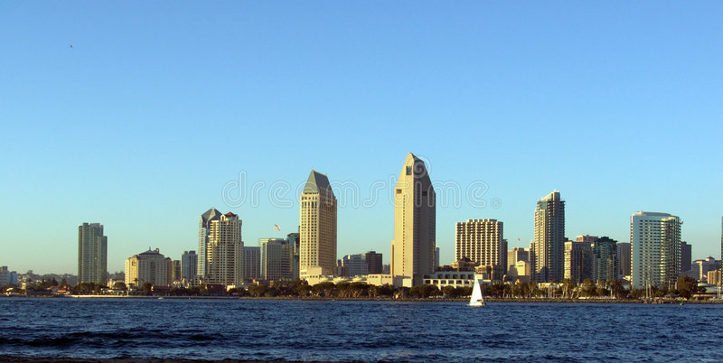 San Diego Skyline. The city of San Diego, California. View of downtown from Coronado Island royalty free stock images