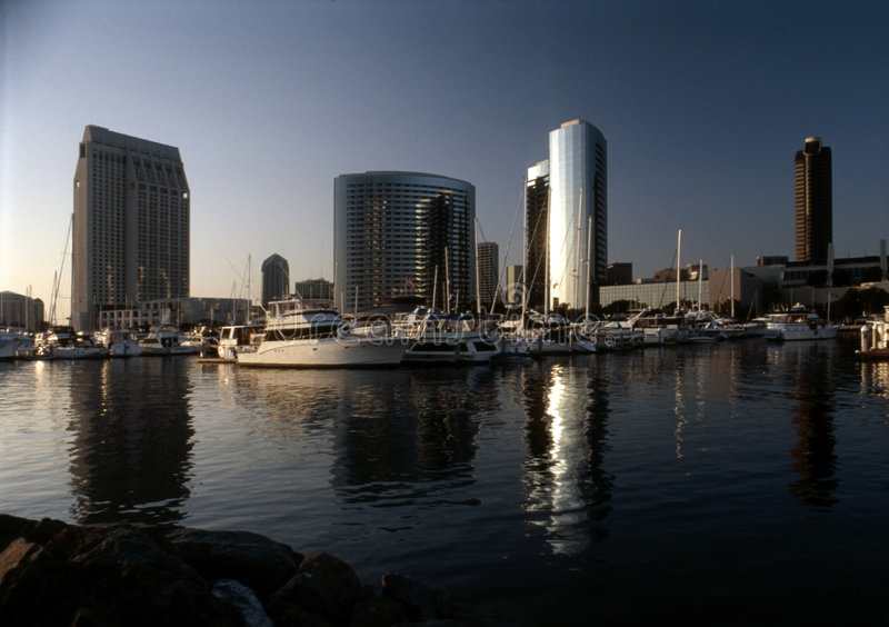 San Diego Skyline. Downtown of San Diego with Embarcadero harbor and Seaport Villsge stock photos