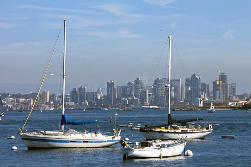 San Diego Skyline. SAN DIEGO,CA,AMERICA - NOVEMBER 06,2016:San Diego from the Habour with a Yachts in the foreground,California,United States royalty free stock photography