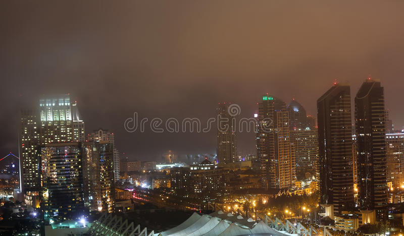 San diego skyline. San diego California night view of the city in a foggy night royalty free stock images