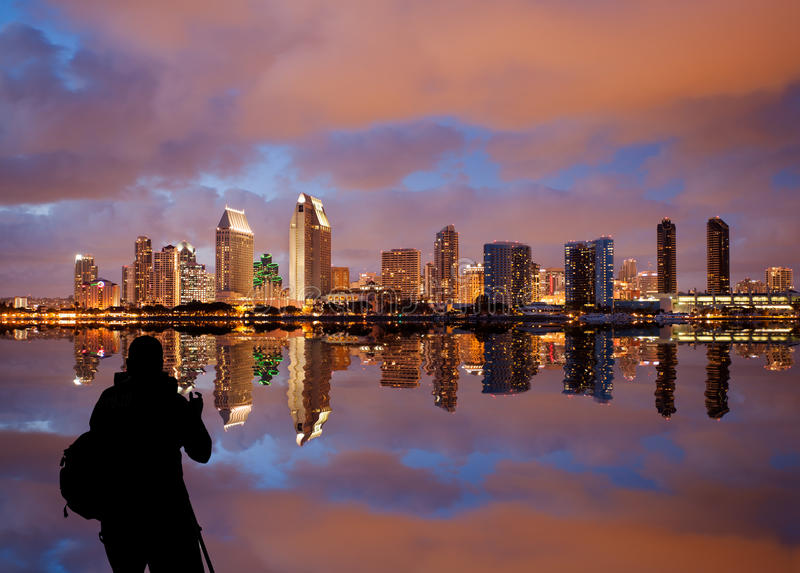 San Diego skyline at dusk reflected in sea. Skyline cityscape of San Diego downtown skyscrapers at night with lights reflecting into the ocean royalty free stock photos