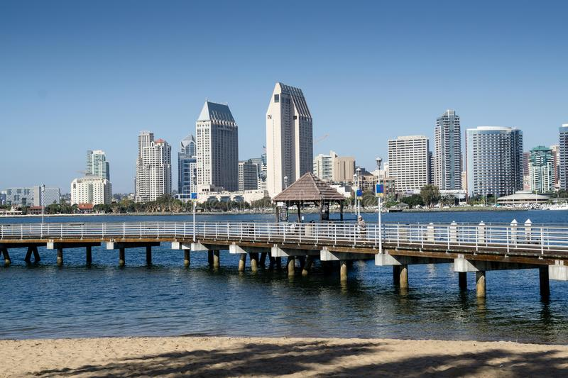 San Diego Skyline and landing stage seen from Coronado stock images
