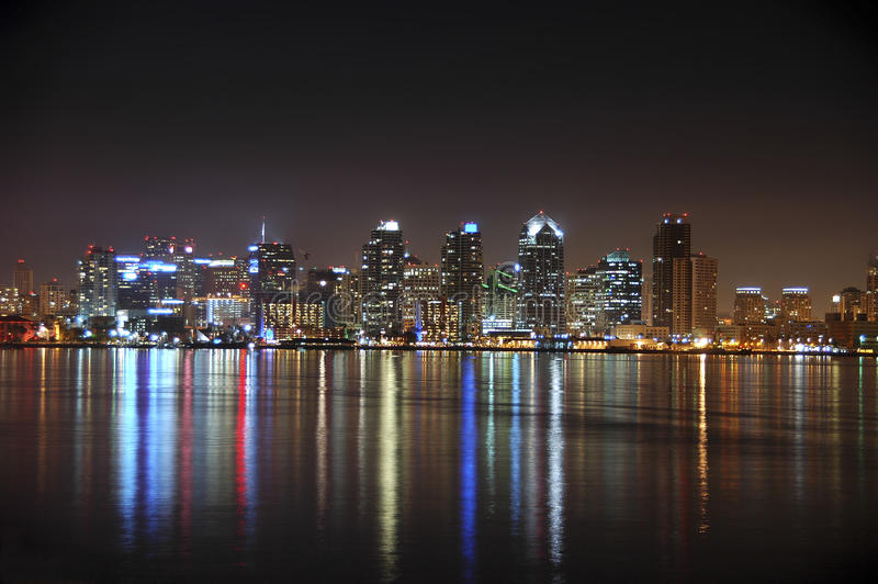 San Diego skyline at night. Spectacular lights and colors of downtown San Diego over the bay at night stock images