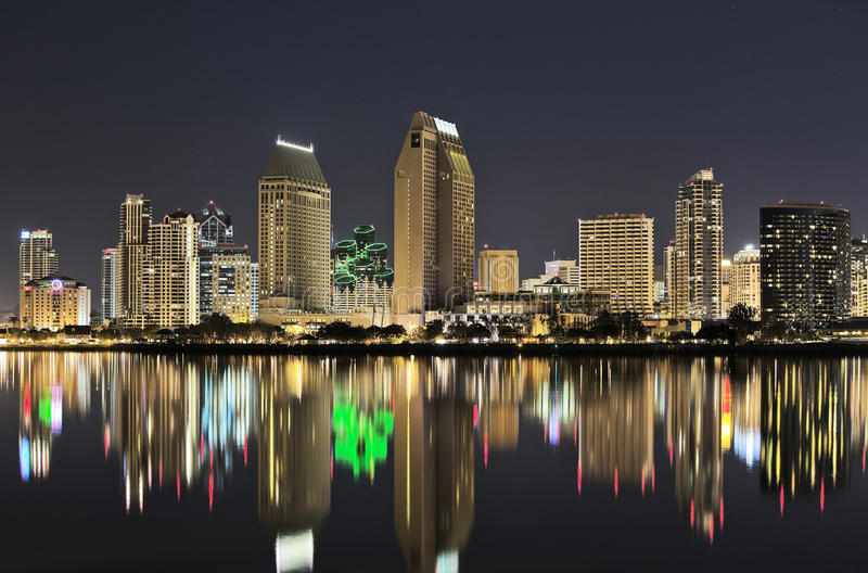 San Diego Skyline at Night. Downtown San Diego at night. Taken from across the bay in Coronado stock photos