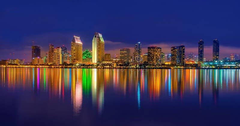 Downtown San Diego at Night. stock photo