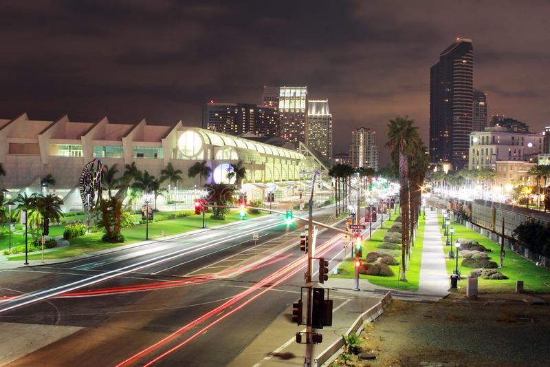 San Diego Skyline Night Shot photos libres de droits