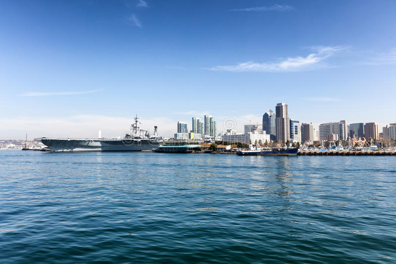 San Diego skyline from the ocean. Ocean view of the skyline of San Diego, California during a bright day stock photos