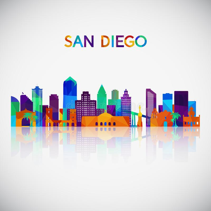 San Diego skyline silhouette in colorful geometric style. stock illustration