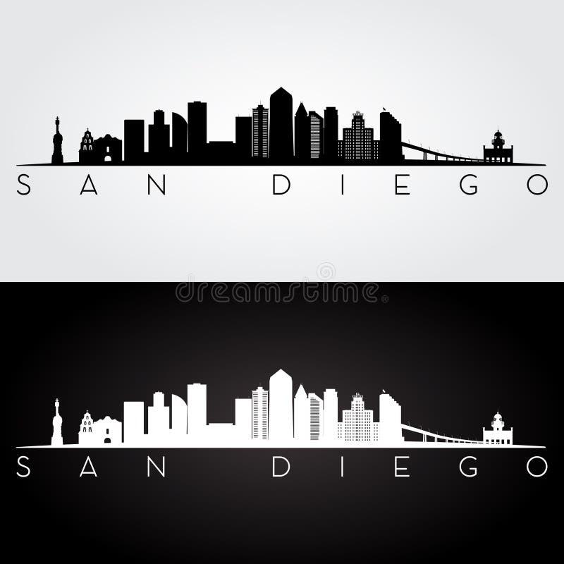 San Diego skyline silhouette stock illustration