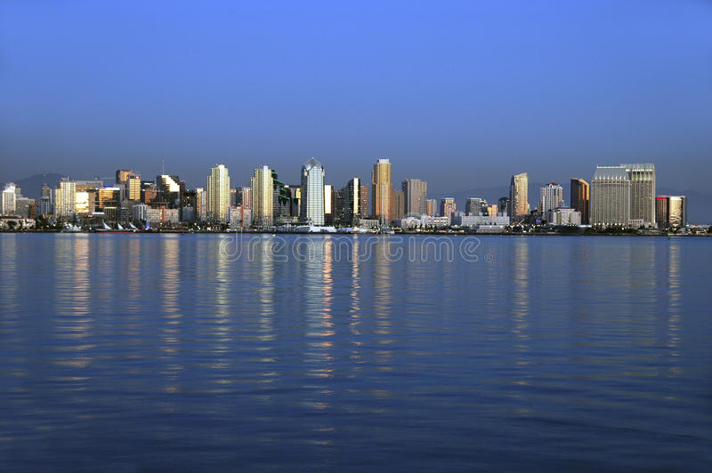 San Diego skyline at sunset. Fantastic view of downtown San Diego over the bay at sunset royalty free stock photography