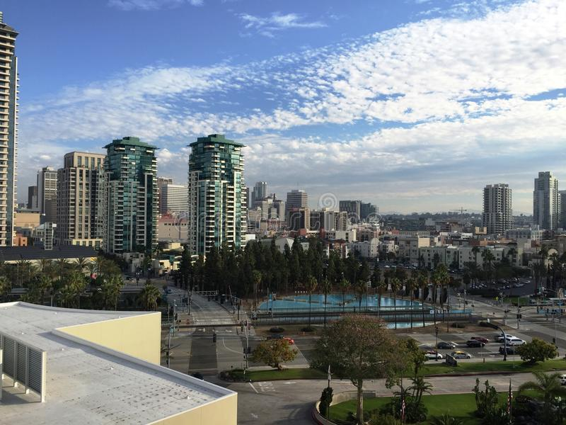 San Diego skyline. Taken from the 7th floor balcony of the Marriott in San Diego, CA - October 2016 royalty free stock photo