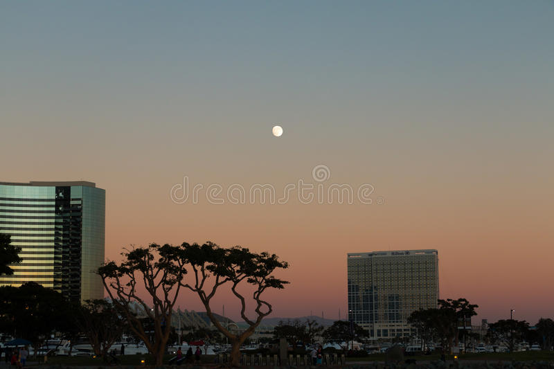 San Diego Skyline. View of San Diego area from Seaport Village stock image