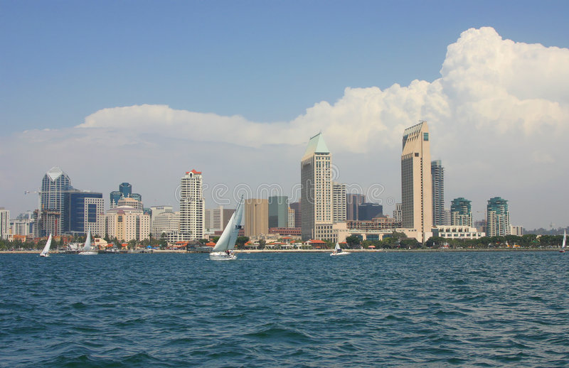 San Diego Skyline from the Water. With Boats in the forground royalty free stock photography