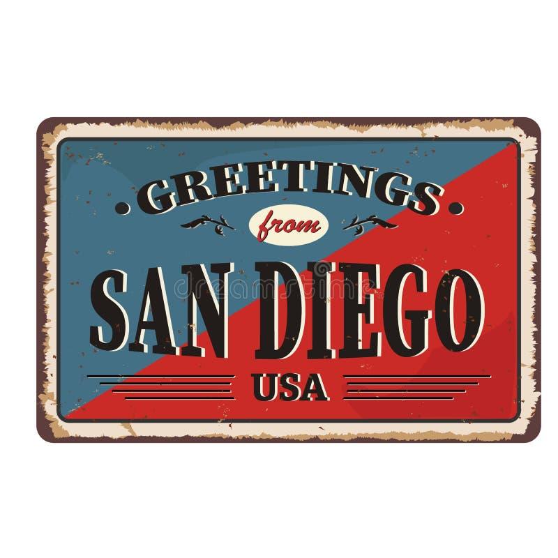 San Diego-Stadtweinlese-Plakatvektor Weinlesezinnzeichen mit USA-Stadt vektor abbildung