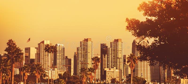 San Diego Sunset Panorama foto de archivo libre de regalías