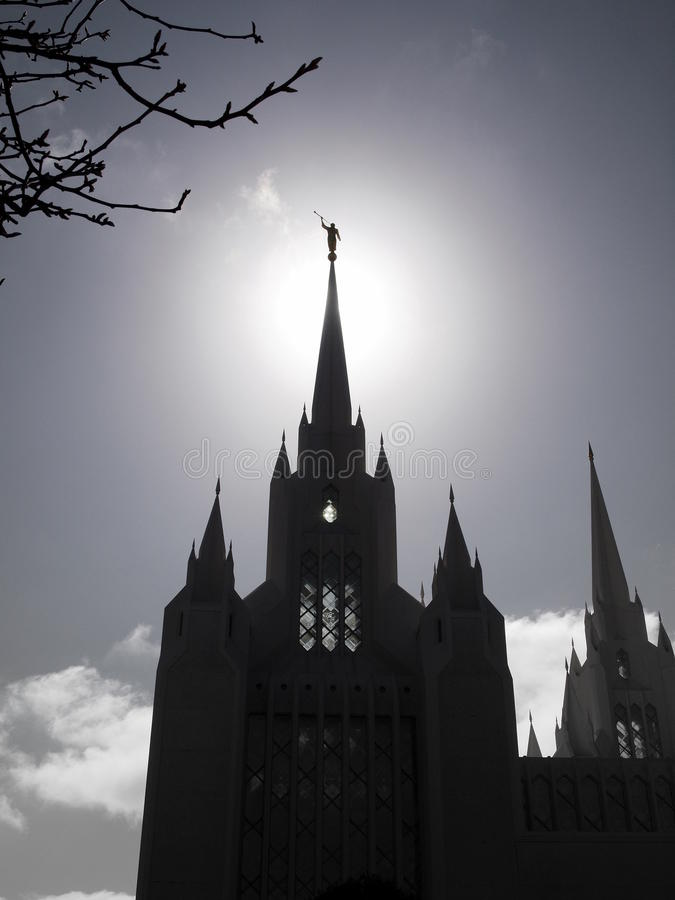 San Diego Temple with Angel Moroni stock image